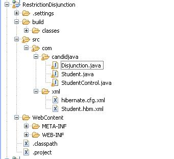 Hibernate createCriteria Restriction disjunction() Example Program